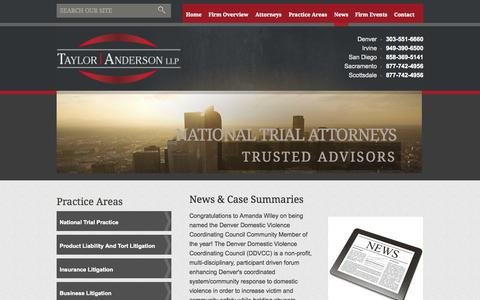 Screenshot of Press Page talawfirm.com - News & Case Summaries | Taylor | Anderson, LLP | - captured Oct. 7, 2014