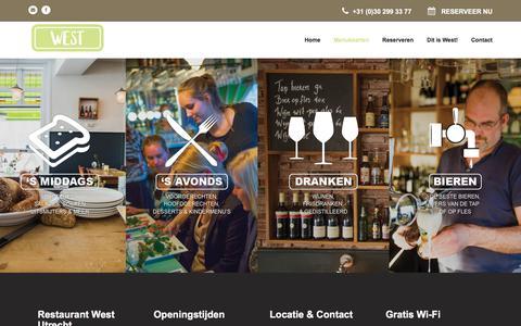 Screenshot of Menu Page restaurantwest.nl - Menukaarten | Restaurant West - captured Sept. 26, 2018