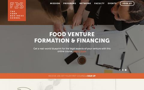 Screenshot of Home Page foodbusinessschool.org - Home - The Food Business School - captured March 9, 2016