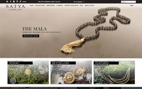 Screenshot of Home Page satyajewelry.com - Satya Jewelry | Modern Jewelry with Meaning | Satya Jewelry - captured Sept. 25, 2014