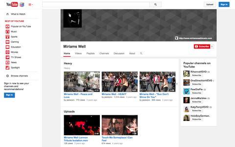 Screenshot of YouTube Page youtube.com - Miriams Well  - YouTube - captured Nov. 5, 2014
