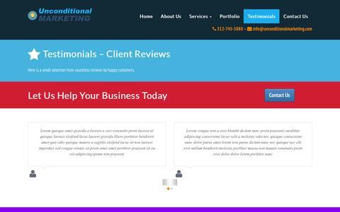 Screenshot of Testimonials Page unconditionalmarketing.com - Testimonials   Undconditional Marketing - captured July 23, 2016