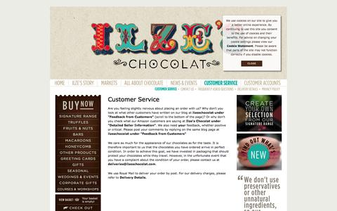 Screenshot of Support Page ilzeschocolat.com - Ilze's Chocolat - Customer Service - captured Sept. 30, 2014