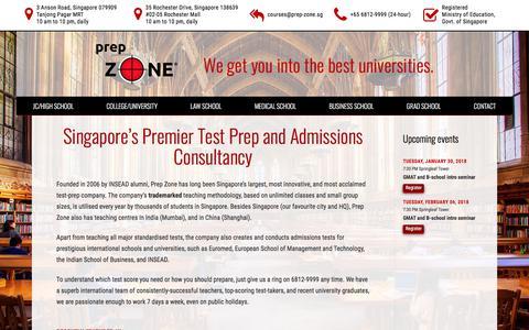 Screenshot of Home Page prep-zone.sg - Singapore's Top test prep center - MOE Registered - captured Jan. 26, 2018