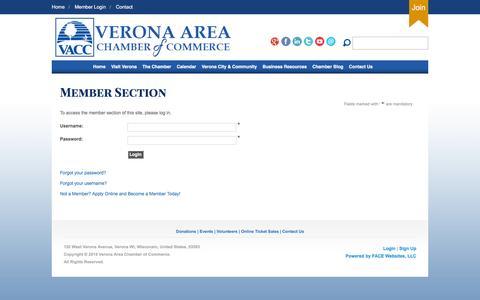 Screenshot of Login Page veronawi.com - Verona Area Chamber of Commerce - captured Feb. 14, 2016