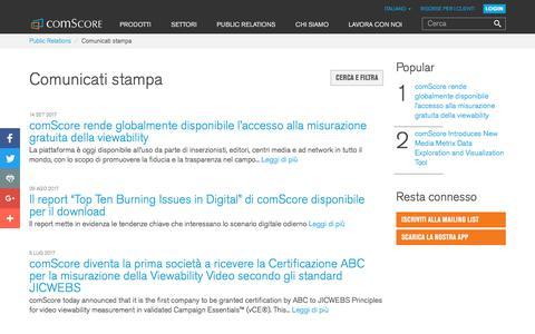 Screenshot of Press Page comscore.com - Comunicati stampa - comScore, Inc - captured Sept. 26, 2017