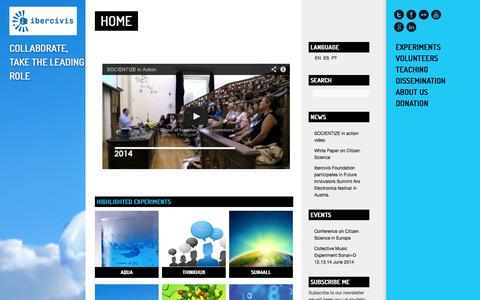 Screenshot of Home Page ibercivis.es - Ibercivis: Citizen Science and Volunteer Computing - captured Sept. 24, 2014