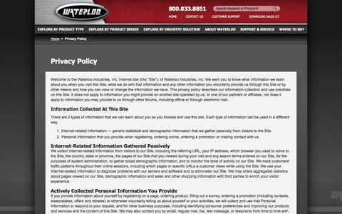Screenshot of Privacy Page waterlooindustries.com - Waterloo Industries - Privacy Policy - captured Sept. 30, 2014