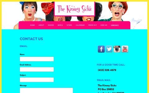 Screenshot of Contact Page kinseysicks.com - The Kinsey Sicks - Contact - captured July 2, 2018