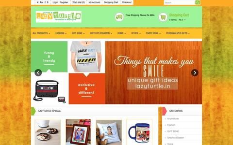 Screenshot of Home Page lazyturtle.in - Unique & cool gifts in India - captured Feb. 1, 2016