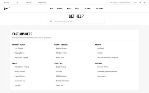 Screenshot of Contact Page nike.com - Nike Customer Service. Get Help With Returns, Ordering & Products. - captured May 31, 2018
