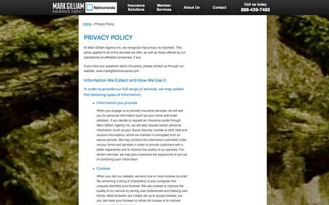 Screenshot of Privacy Page markgilliaminsurance.com - Privacy Policy | Mark Gilliam Agency Inc of Alpharetta Georgia - captured Oct. 27, 2014
