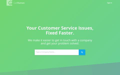 Screenshot of Home Page gethuman.com - GetHuman: Save Time and Frustration with Customer Service - captured Oct. 23, 2017