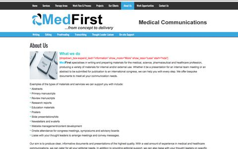 Screenshot of About Page medfirst.co.uk - MedFirst - medical communications for healthcare professionals and organisations - captured June 10, 2017