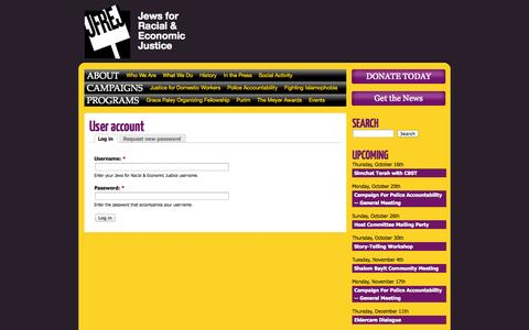 Screenshot of Login Page jfrej.org - User account | Jews for Racial & Economic Justice - captured Oct. 6, 2014