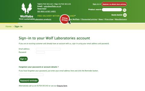 Screenshot of Login Page wolflabs.co.uk - Wolf Laboratories :: Laboratory Equipment Suppliers - captured Oct. 18, 2018
