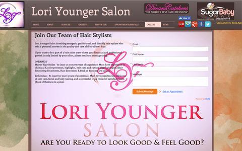 Screenshot of Jobs Page loriyoungersalon.net - Hair Salons | Hair Salons in Alexandria | Hair Salons in Virginia - captured May 23, 2017