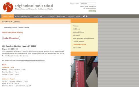 Screenshot of Contact Page Locations Page neighborhoodmusicschool.org - Locations & Contacts  | Neighborhood Music School - captured June 12, 2017