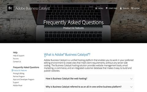 Screenshot of FAQ Page businesscatalyst.com - Product Information FAQs | Adobe Business Catalyst - captured June 17, 2017
