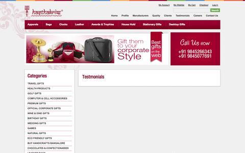 Screenshot of Testimonials Page hasthakriyagifts.com - Testimonials - captured Oct. 2, 2014