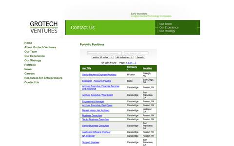Screenshot of Jobs Page grotech.com - Grotech Ventures | Submit a Plan - captured Oct. 4, 2014