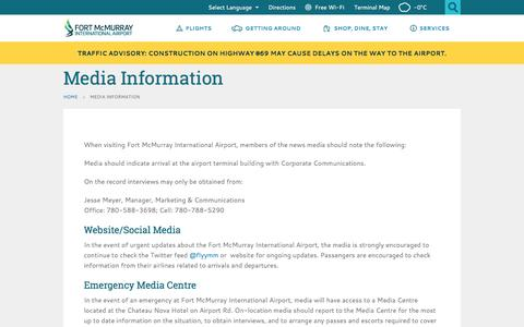 Screenshot of Press Page flyymm.com - Media Information  | Fort McMurray International Airport - captured Oct. 27, 2014