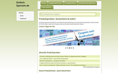 Screenshot of Home Page einfach-sparsam.de - einfach-sparsam.de - Gutscheine, Produktproben, Gewinnspiele & mehr - captured Nov. 8, 2016