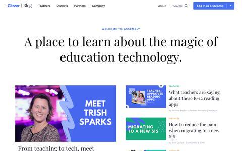 Screenshot of Blog clever.com - Assembly, the Clever blog - captured Oct. 5, 2019
