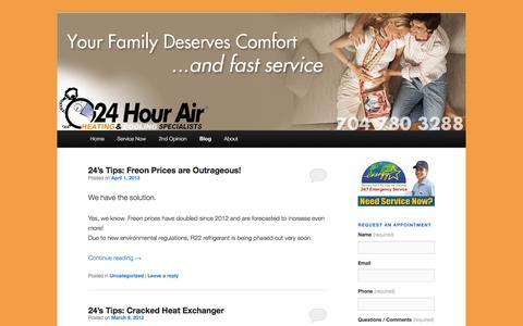 Screenshot of Blog 24hourair.com - Blog | 24hourair | Heating & AC Specialists - captured Dec. 21, 2016