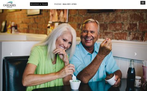 Screenshot of Home Page cascades-verdae.com - Cascades Verdae Retirement Community Greenville, South Carolina : Cascades Verdae Retirement | Greenville, SC - captured May 14, 2017