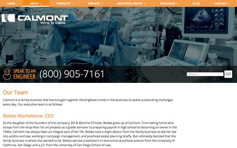 Screenshot of Team Page calmont.com - Our Team | Calmont Wire & Cable Team | Custom Cable Engineers - captured Sept. 26, 2018