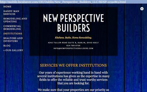 Screenshot of Menu Page newperspectivebuilders.com - Institutions — New Perspective Builders - captured Oct. 7, 2014