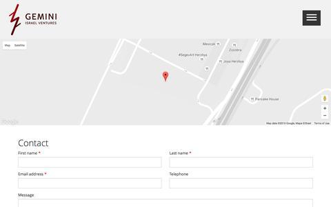 Screenshot of Contact Page gemini.co.il - Contact - Gemini Israel Ventures - captured Nov. 4, 2016