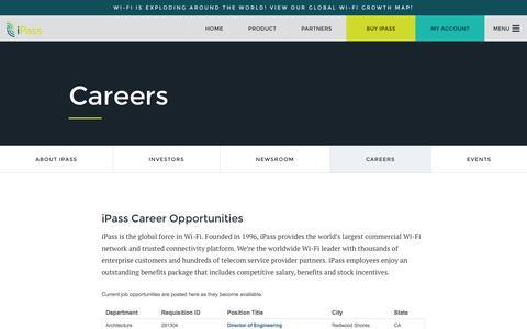 Screenshot of Jobs Page ipass.com - Careers - iPass - captured Oct. 1, 2015
