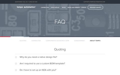 Screenshot of FAQ Page tempoautomation.com - Tempo Automation   FAQs - captured June 13, 2017