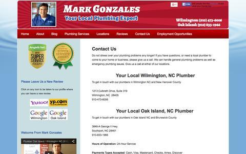 Screenshot of Contact Page capefearplumber.com - Contact Local Plumber Mark Gonzales   24 Hour Plumber in Wilmington NC & Oak Island NC - captured Feb. 14, 2016