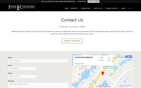 Screenshot of Contact Page fineandcountry.com - Contact Us - captured Oct. 10, 2018