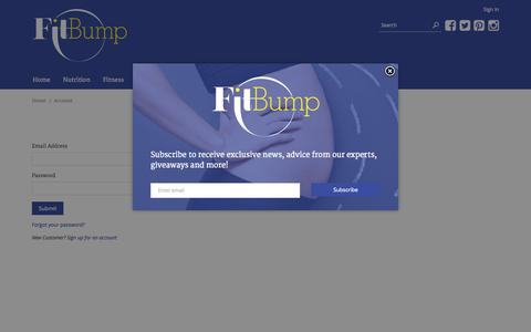 Screenshot of Login Page fitbump360.com - Account – FitBump - captured Oct. 6, 2014