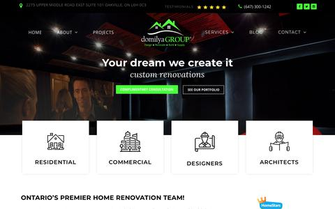Screenshot of Home Page domilyagroup.ca - domilya GROUP | General Contractor Oakville, Mississauga, Burlington - captured Aug. 8, 2018