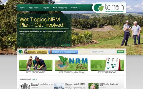 Screenshot of Home Page Jobs Page terrain.org.au - Terrain NRM - captured Oct. 6, 2014