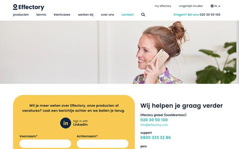 Screenshot of Contact Page effectory.nl - Contact - captured July 15, 2018