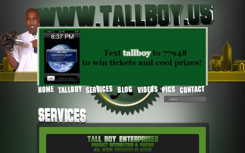 Screenshot of Services Page tallboy.us - Services | TallBoy.us - captured Oct. 27, 2014