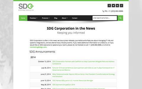 Screenshot of Press Page sdgc.com - SDG News   News about Risk Mitigation in the Enterprise - captured Nov. 3, 2014