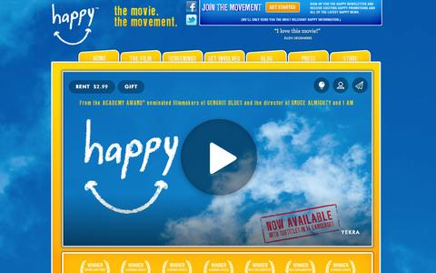Screenshot of Home Page thehappymovie.com -  The Happy Movie - captured Sept. 23, 2014