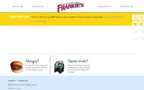 Screenshot of Locations Page frankiesfunpark.com - Locations - Frankie's Fun Park - captured Oct. 6, 2014