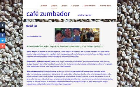 Screenshot of About Page zumbadorcoffee.com - About - captured April 9, 2016