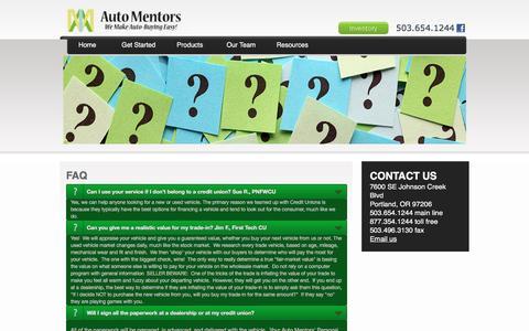 Screenshot of FAQ Page automentors.com - FAQ | Auto Mentors - captured July 27, 2016