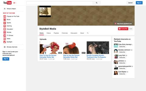 Screenshot of YouTube Page youtube.com - StyleBell Media  - YouTube - captured Oct. 24, 2014