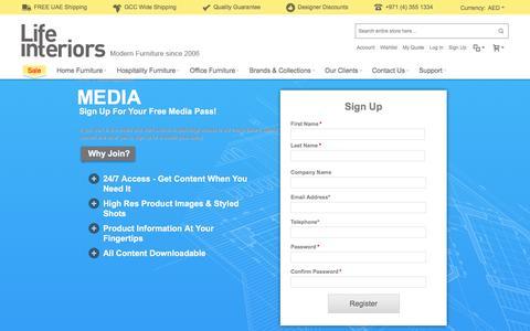 Screenshot of Press Page lifeinteriors.ae - Lifeinteriors Dubai Media registration - captured Nov. 7, 2016