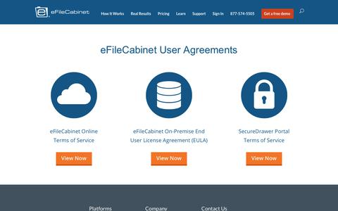 Screenshot of Terms Page efilecabinet.com - User Agreements | eFileCabinet - captured March 6, 2018